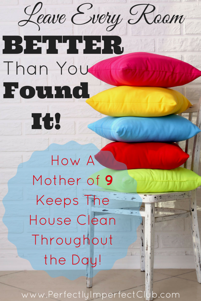 These are great tips from a Mom of 9 who manages to keep her house picked up throughout the day! |tidy up|organize|declutter|housekeeping|largefamilyliving